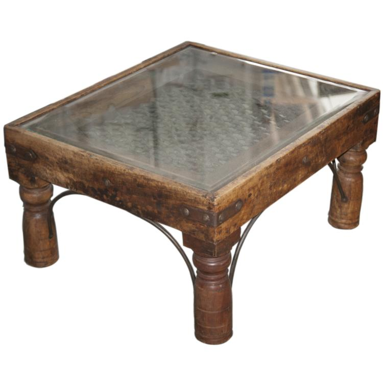 Industrial Wooden & Cast Iron Coffee Table