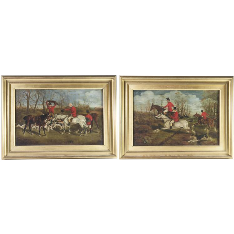 Signed Antique Oil on Panel English Hunting Scenes