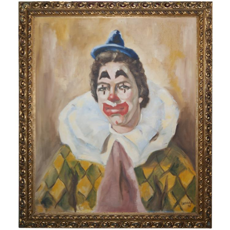 Oil on Canvas Harlequin Painting Signed:'DVPRAT