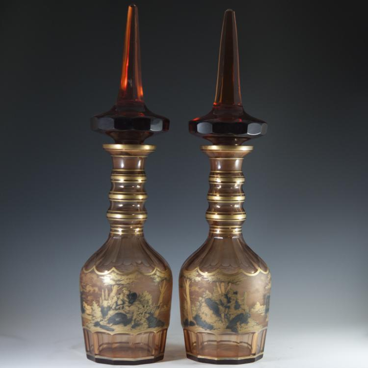 Oversized Bohemian Amber Glass Decanters