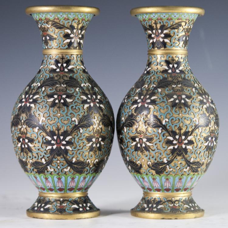 Vintage Cloisonne Enameled Vases
