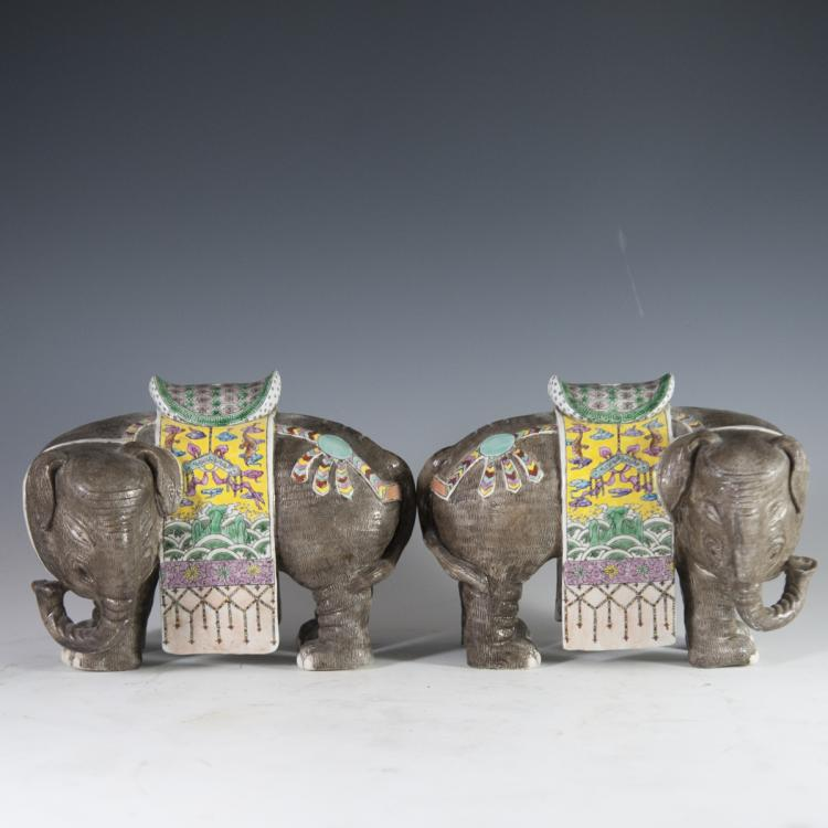 Antique Famille Jaune Porcelain Elephant Figurines