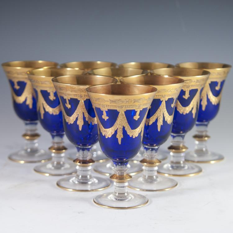 Interglass 24kt Overlay Cobalt Goblets