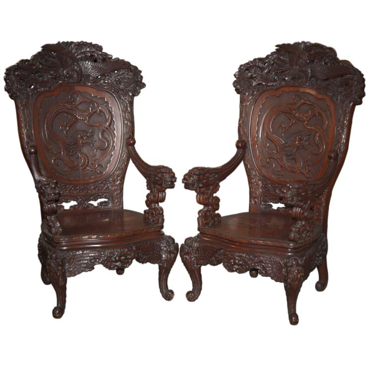 Carved Chinese Wooden Throne Armchairs