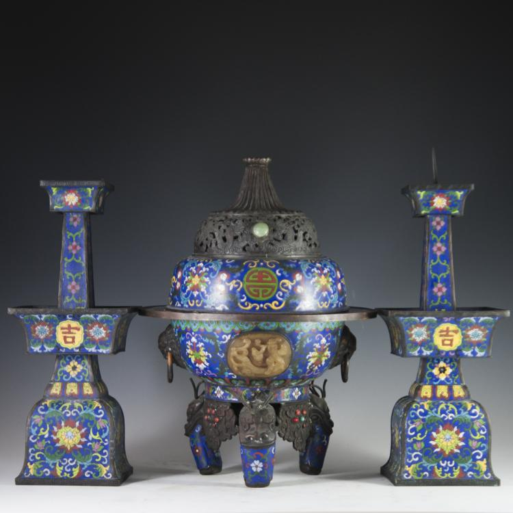 Antique Chinese Cloisonne Enameled & Jade & Coral Censer Candlesticks