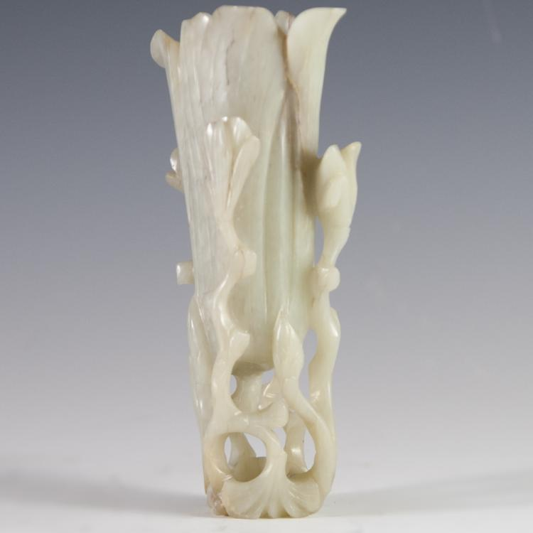 Antique Carved Jade Vase