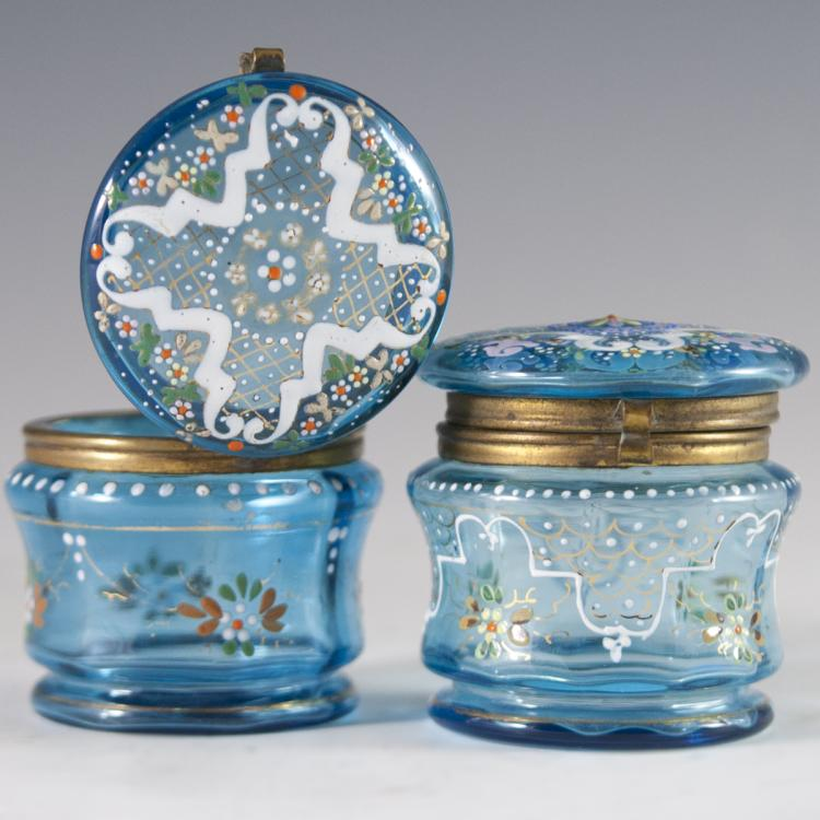 Victorian Enameled Glass Powder Boxes
