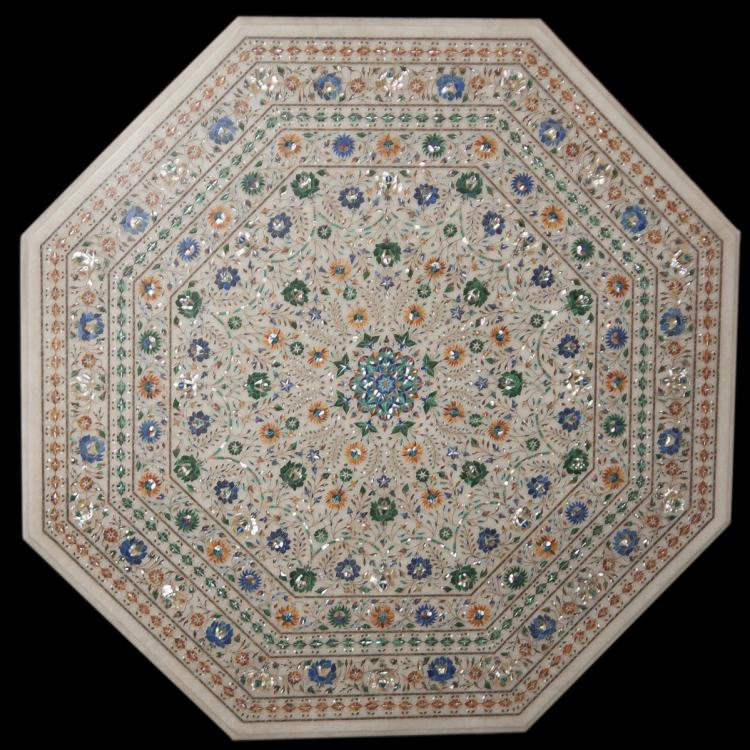 Inlaid Semi-Precious Stone Pietra Dura Table Top