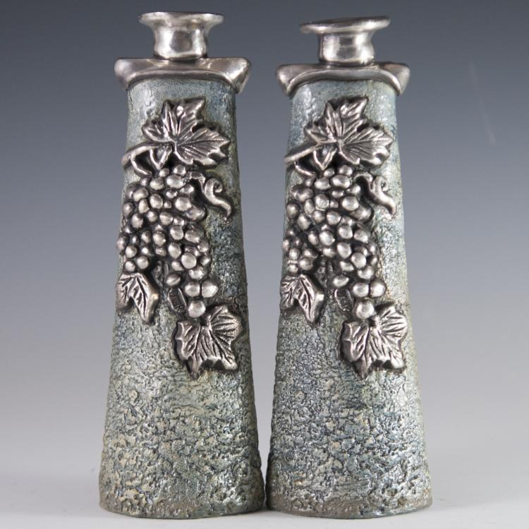 Domar Clay & Sterling Sabbath Candlesticks