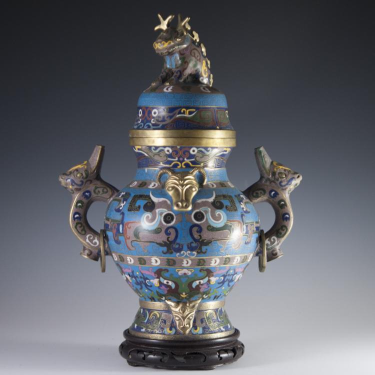 Antique Chinese Cloisonne Enameled Urn