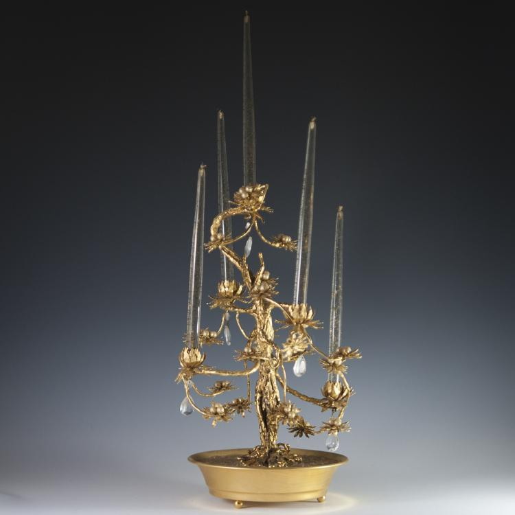 Dore Bronze & Crystal Tree Candelabra