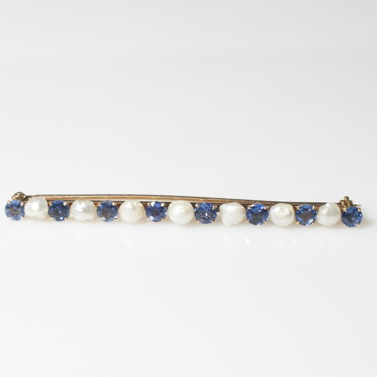14kt Gold Sapphire & Southsea Pearl Brooch