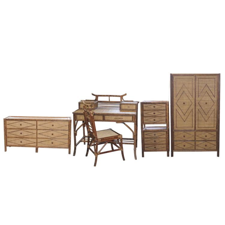 Vintage Wicker & Bamboo Furniture Set