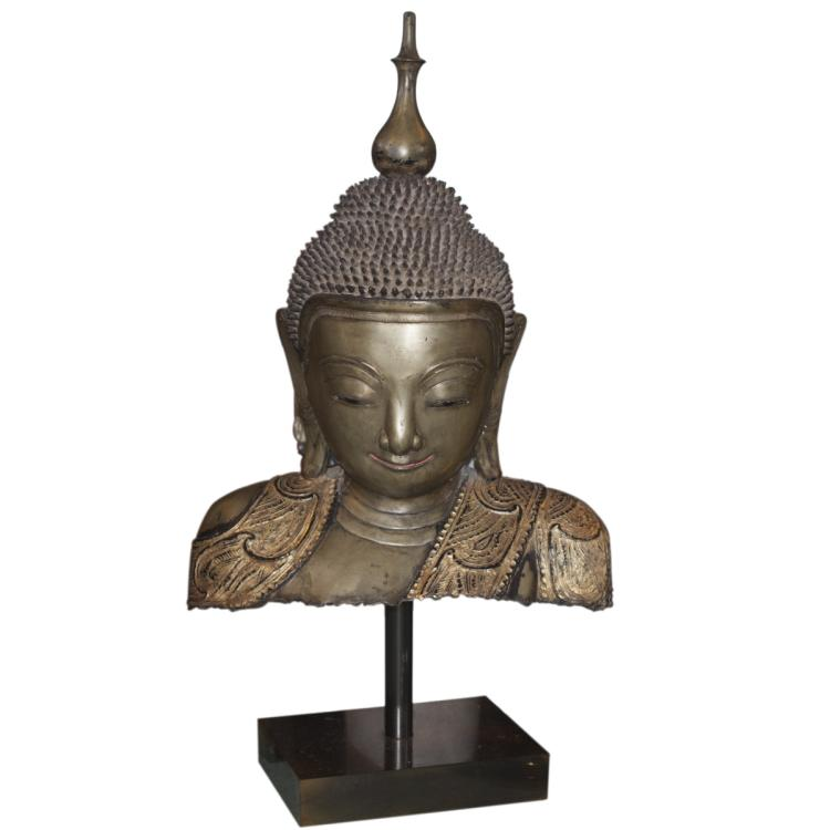 Antique Burmese Bronze Buddha Bust