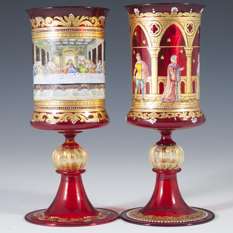 Handpainted Venetian Glass Wine Goblets