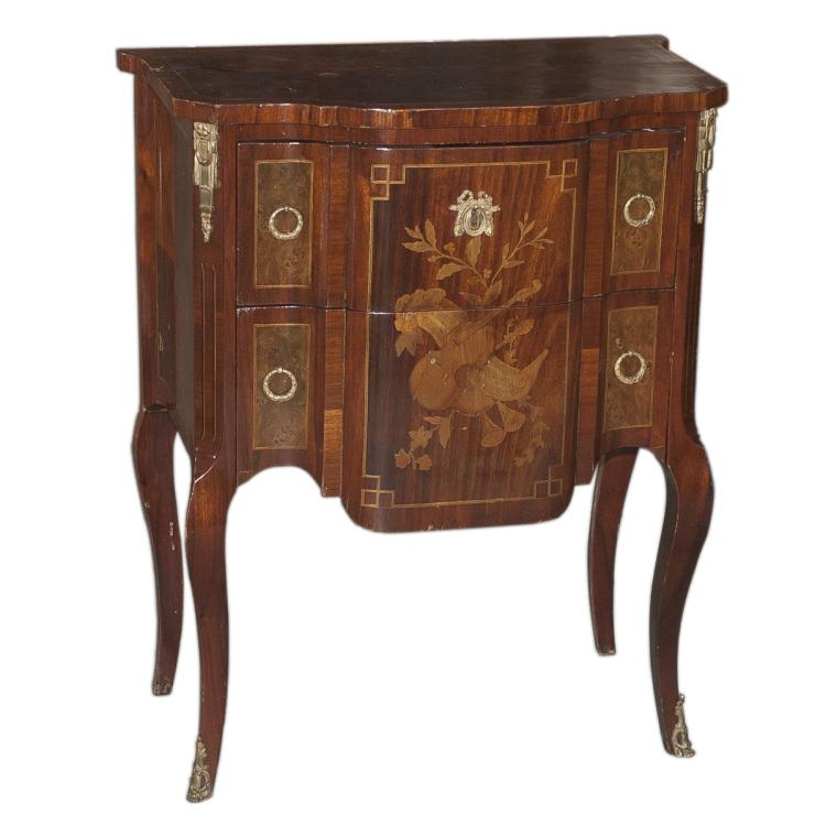Antique Inlaid Wood & Gilded Bronze End Table