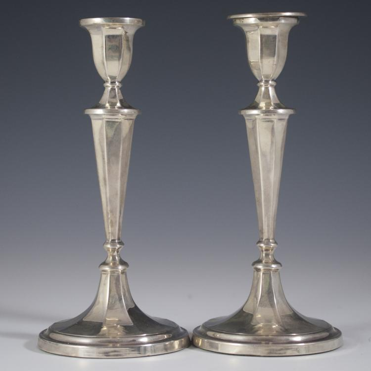 Antique Roberts & Belk Sterling Candlesticks
