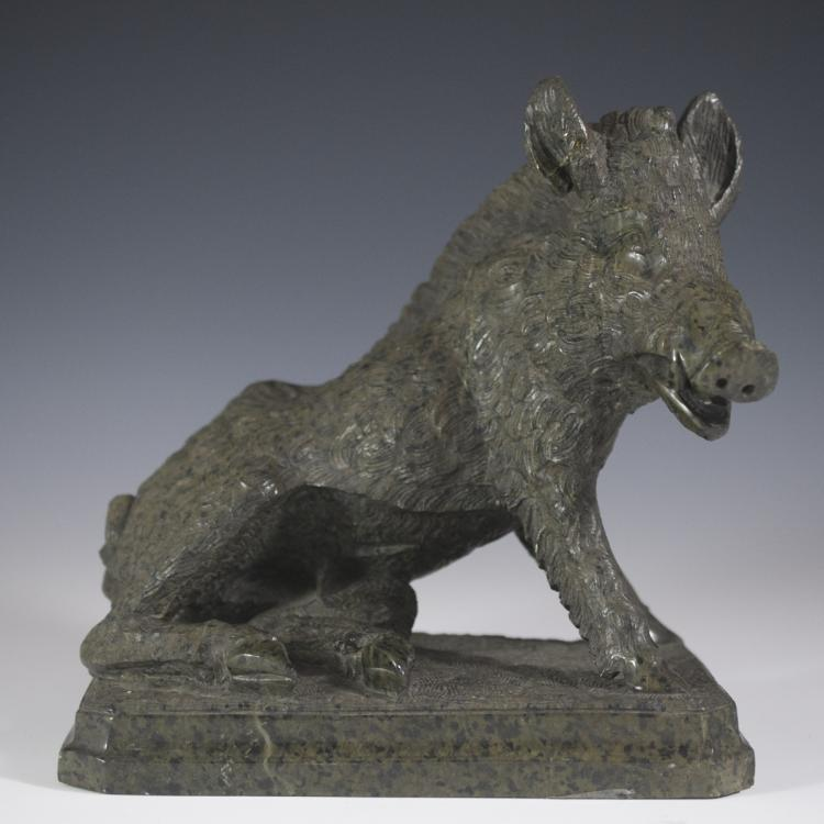 Carved Granite Boar