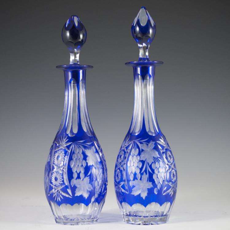 Bohemian Cobalt Crystal Decanters