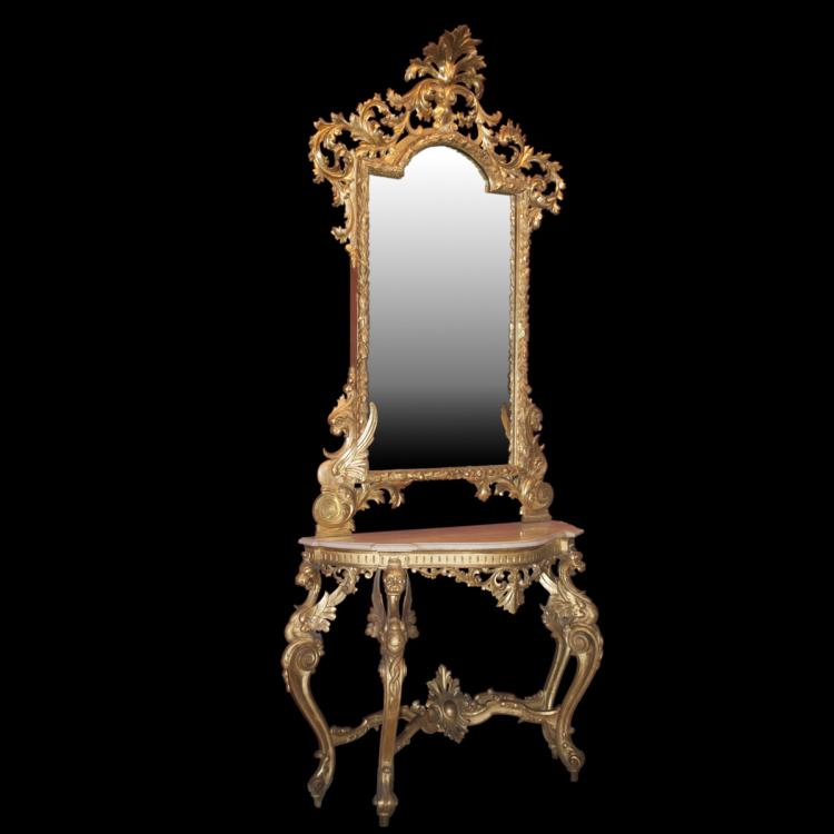 Antique Gilded Wood & Marble Console Mirror