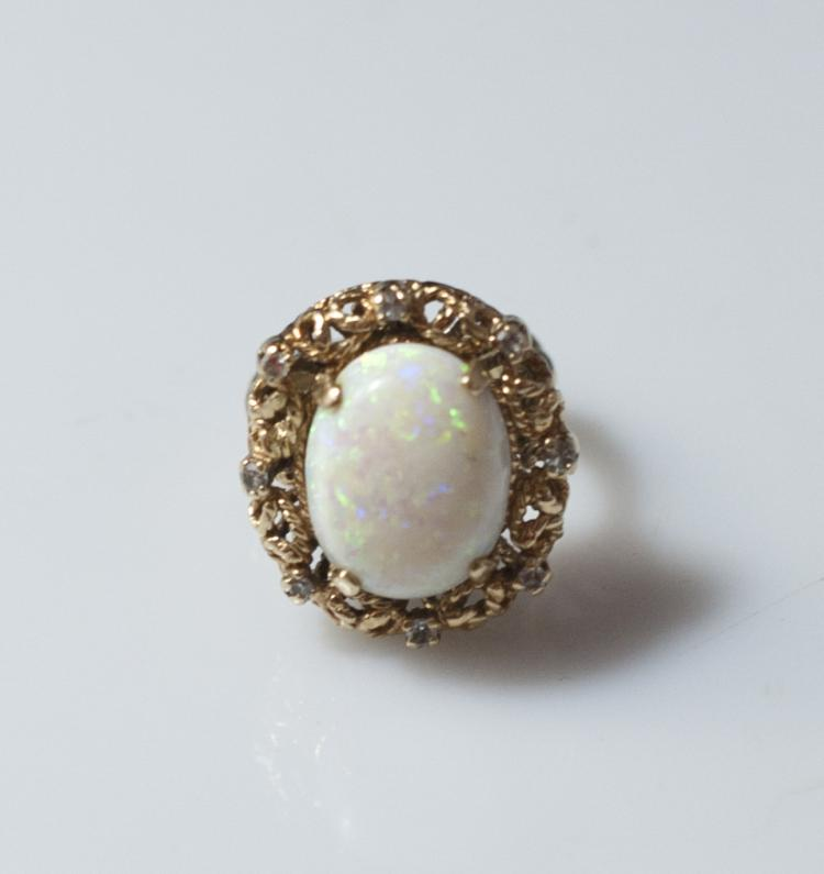 14kt White Opal & Gold Ring