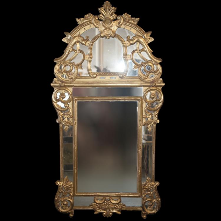 Antique Ornate Gilded Wood Mirror