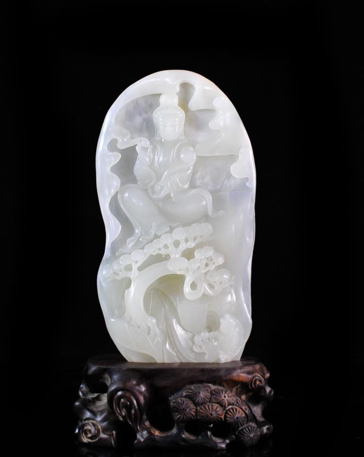 Chinese Hand Carved White Jade Plaque