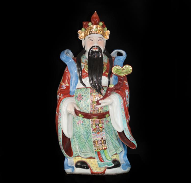 Decorative Chinese Emperor Porcelain Statue