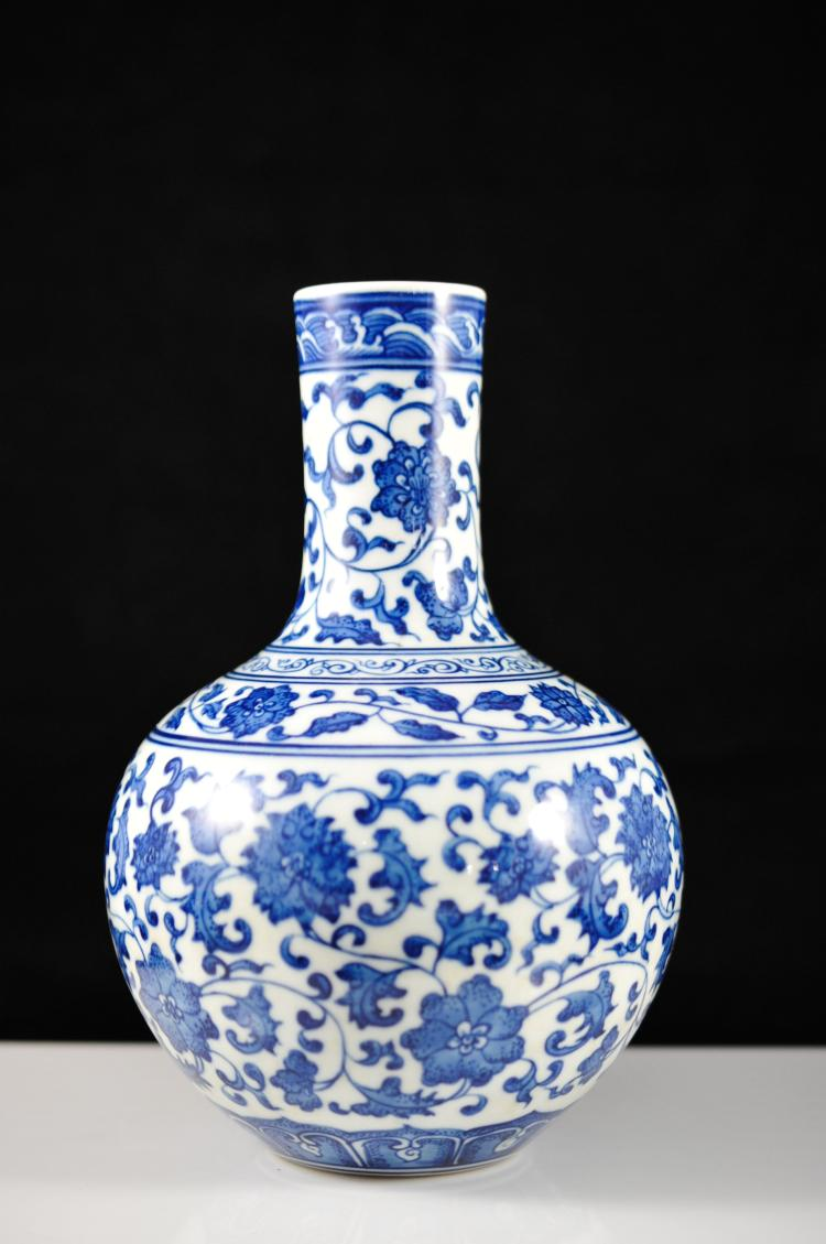 Antique Chinese Blue & White Porcelain Vase