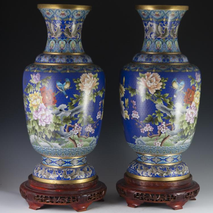 Large Chinese Cloisonne Enameled Vases
