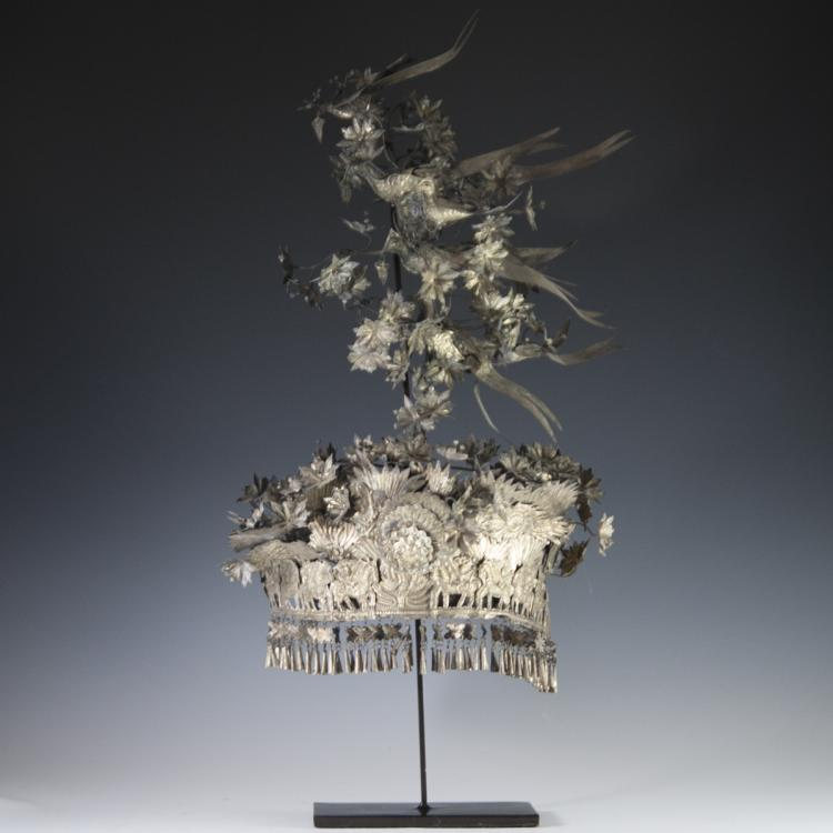 Chinese Silver Miao Headdress