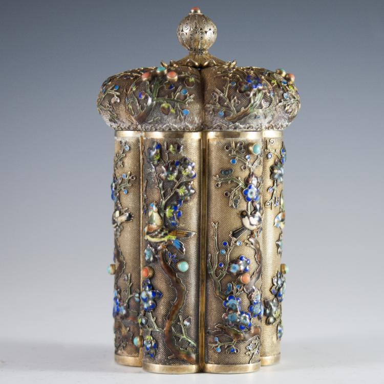 Chinese Filigree Vermeil Silver Enameled Jeweled Tea Caddy