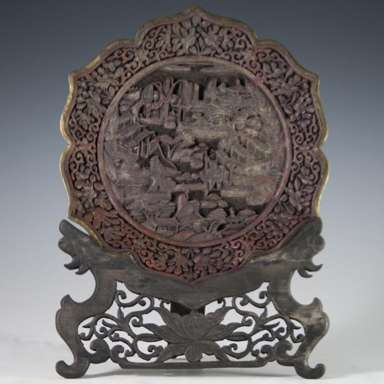Qianlong Period Carved Cinnabar Plate