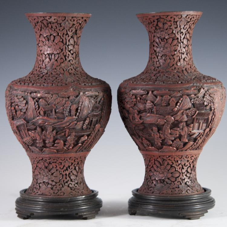 Antique Carved Chinese Cinnabar Vases