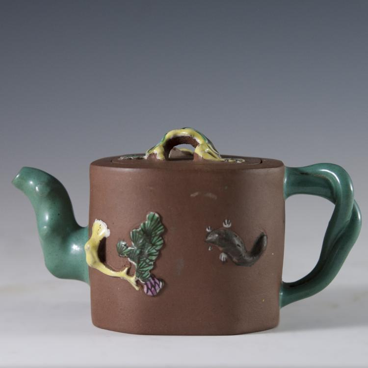 Enameled Chinese Terracotta Teapot