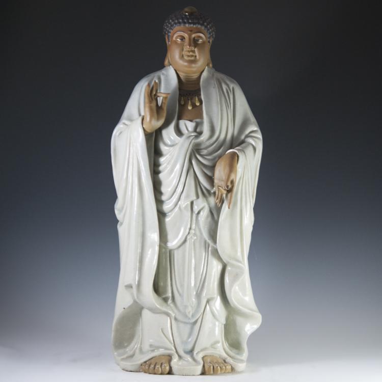 Vintage Ceramic Standing Buddha