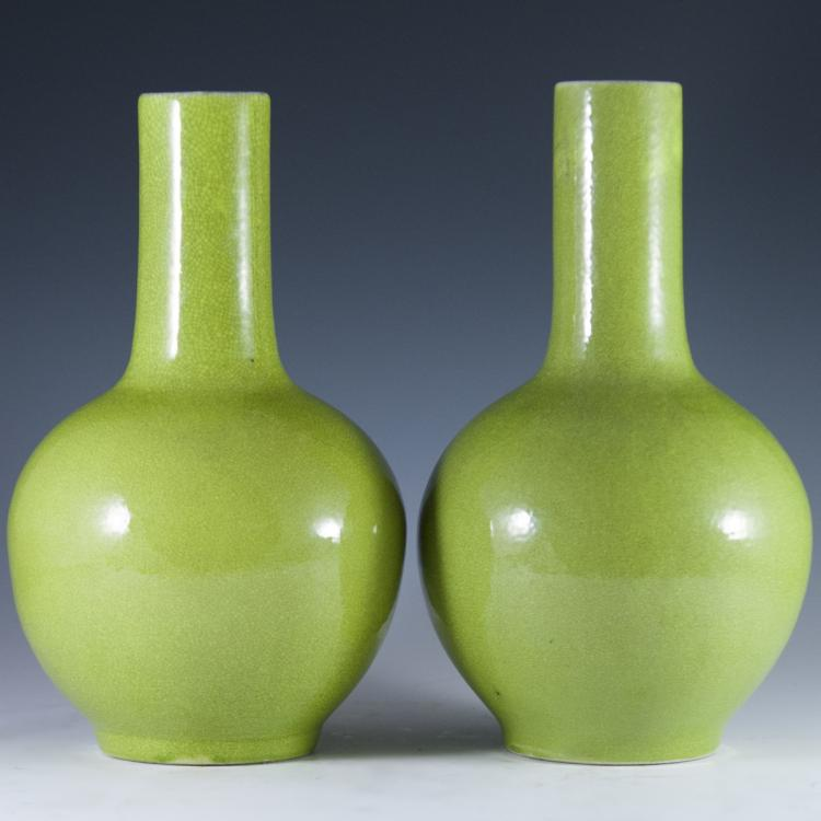 Chinese Porcelain Apple Green Bottle Vases