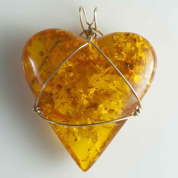 Gold & Amber Heart Pendant