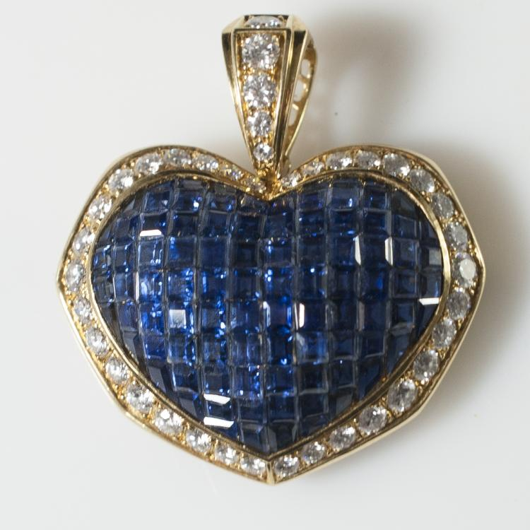 18kt Gold Sapphire & Diamond Pendant