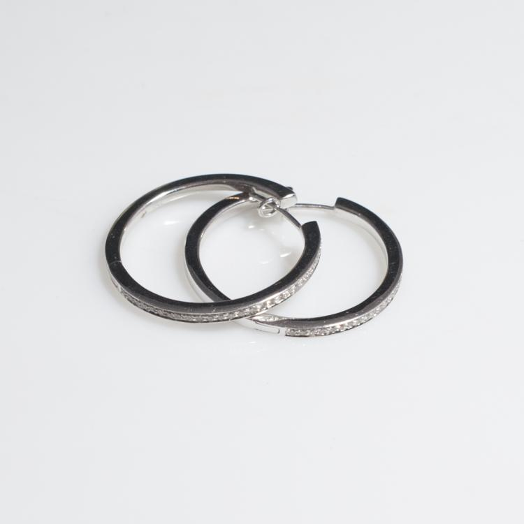 French 18kt White Gold & Diamond Earrings