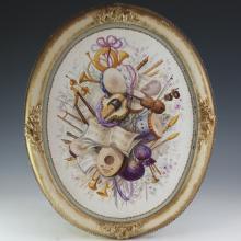 Handpainted Oval Porcelain Plaque