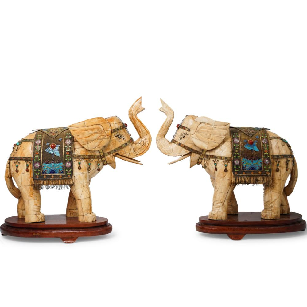 Pair Of Chinese Bone Silver Carved Elephants