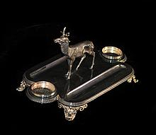 Silver Plated Inkwell Stand With Deer Figurine