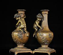 Pair Of Bronze French Candelsticks Signed