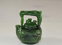 Hand Carved Miniature Spinach Jade Chinese Tea Pot