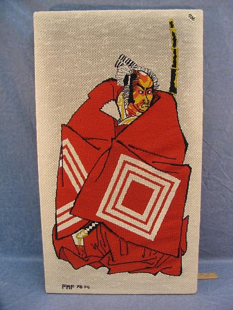 Samurai Oriental warrior Huge needlepoint Picture