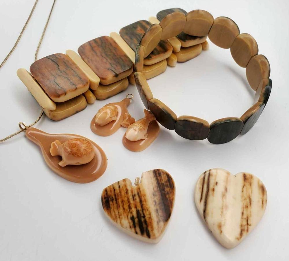 Woolly mammoth ivory bracelets, fossilized walrus ivory jewe