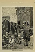 Sketches in Egypt: Courtyard of a House in Cairo - جورج مونت برد (فرنسي، 1905 - 1841) مشهد لفناء منزل بالقاهرة