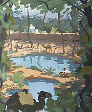 Oasis in Morocco, circa 1955 - ريموند كريتوت-دوفال (فرنسي، 1986 - 1895) مشهد لواحة في بلاد المغرب، تقريبا سنة 1955