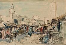 Market in Kairouan - جوستافي فلاشوين (بلجيكي، 1940 - 1868) سوق القيروان بتونس